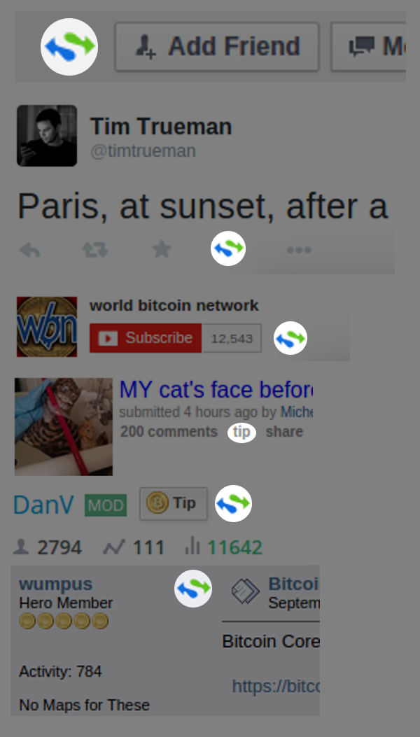 Collage of social network screenshots showing added tipping button